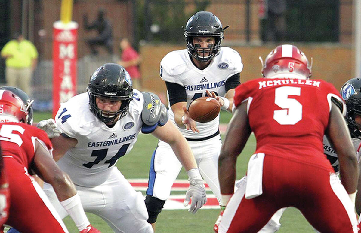 Jersey High grad and former Telegraph Player of the Year Mitch Kimble takes a snap during a game earlier this season for Eastern Illinois University in a game against Miami of Ohio. Kimble, a redshirt junior transfer from Syracuse University, led the Panthers to a 21-17 victory.