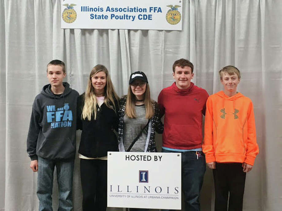 Bluffs FFA members attended the state poultry Career Development Event on April 28 at the University of Illinois in Champaign. The team placed 22nd out of 45 teams in the competition. Isaiah Winkelman (from left) placed 98th, Alyssa Bartels placed 82nd, Sydney Whicker placed 158th, Max Schaad placed 47th and Ethan Buhlig placed 138th among 194 people competing. Photo: Photo Provided