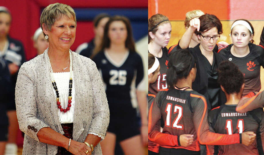 It will be a milestone Tuesday for mother and daughter prep volleyball coaches Fran Struble (left) of Carlinville and Jami Parker (right) of Edwardsville. While Parker's Tigers will be playing to give their coach career victory No. 400 at Villa Duchesne in St. Louis, the Cavaliers will be in Pana for a key South Central Conference match hoping to deliver career victory No. 900 for Struble. Struble will become the eighth volleyball coach in IHSA history to reach 900 with the 15-10 Cavs' next victory. Struble is 899-261 in her 37th season at Carlinville. Parker, a prep standout for her mom at Carlinville before a college career at Washington University in St. Louis, is 399-158 in her 15th season as Tigers coach. Edwardsville takes a 21-4 record to Villa. Photo: File Photos