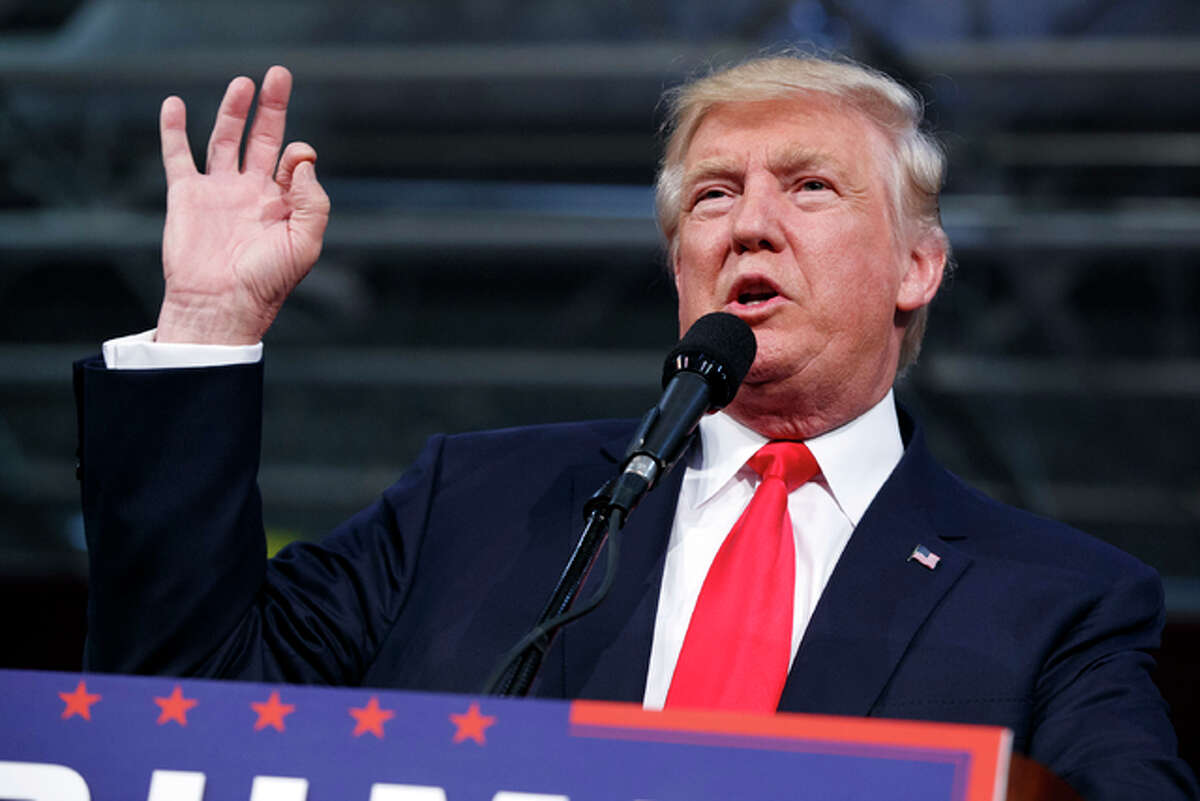 Republican presidential candidate Donald Trump speaks during a campaign rally Monday, Oct. 10, in Ambridge, Pennsylvania.