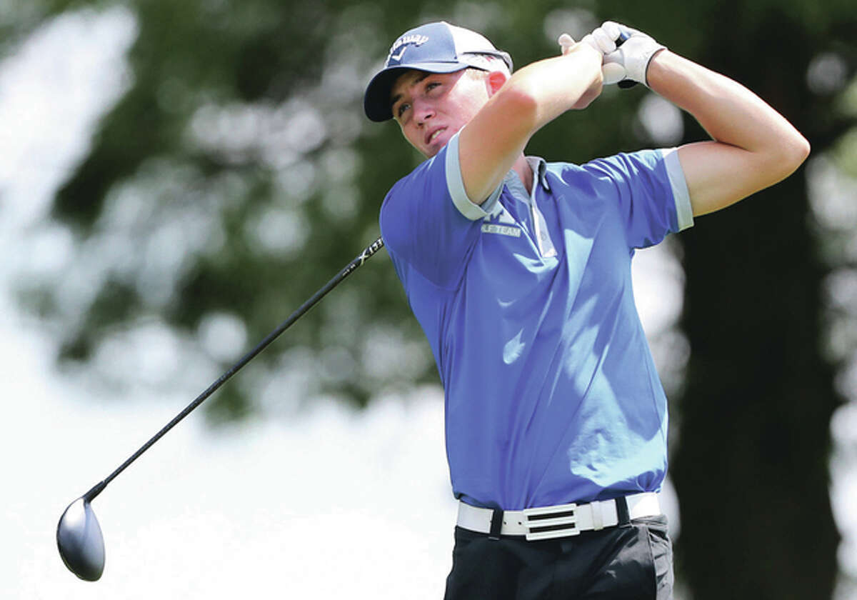 Marquette Catholic senior Nick Messinger and his Explorers teammates take aim at the program's first sectional title since 2002 at the Mattoon Class 2A Sectional on Tuesday at Mattoon Country Club.