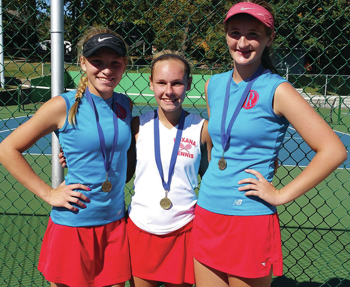 Roxana High grabbed singles and doubles titles in Saturday's South Central Conference Girls Tennis Championships. The Shells' Sydney Owsley captured first in singles competition and the duo of Sara and Haley Milazzo took first place in doubles play.