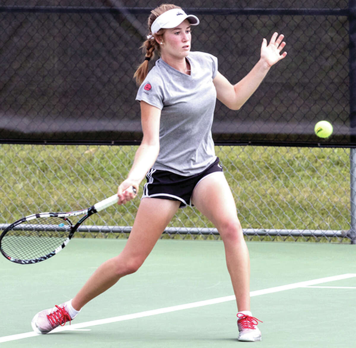 SIUE's Callaghan Adams, a freshman from Edwardsville, will be one of three Cougars taking part in the Intercollegiate Tennis Association Central Regionals this week in Minneapolis.