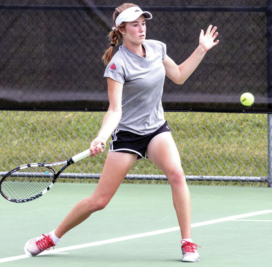 SIUE's Callaghan Adams, a freshman from Edwardsville, will be one of three Cougars taking part in the Intercollegiate Tennis Association Central Regionals this week in Minneapolis. Photo: SIUE Athletics