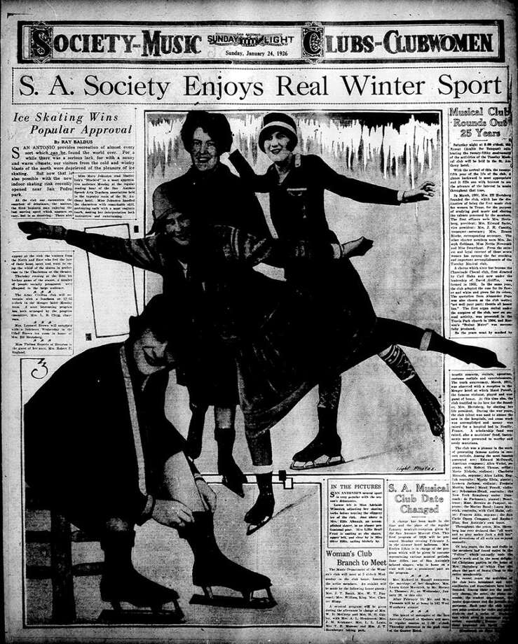 This San Antonio Light page Jan. 24, 1926, shows local women excited about the new Crystal Palace ice rink in San Antonio. Photo: Express-News Archives