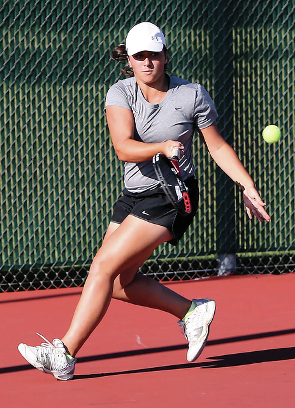 Edwardsville's Natalie Karibian, shown in a match last season, won the singles championship Saturday at the Belleville East Class 2A Sectional to help the Tigers earn their 20th straight sectional title.