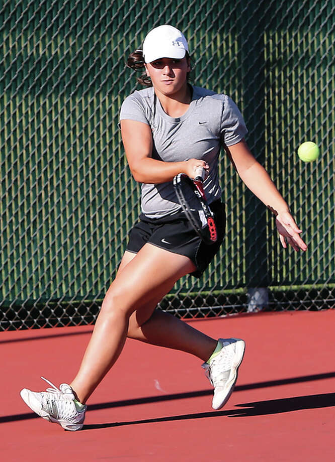 Edwardsville's Natalie Karibian, shown in a match last season, won the singles championship Saturday at the Belleville East Class 2A Sectional to help the Tigers earn their 20th straight sectional title. Photo: Telegraph File Photo