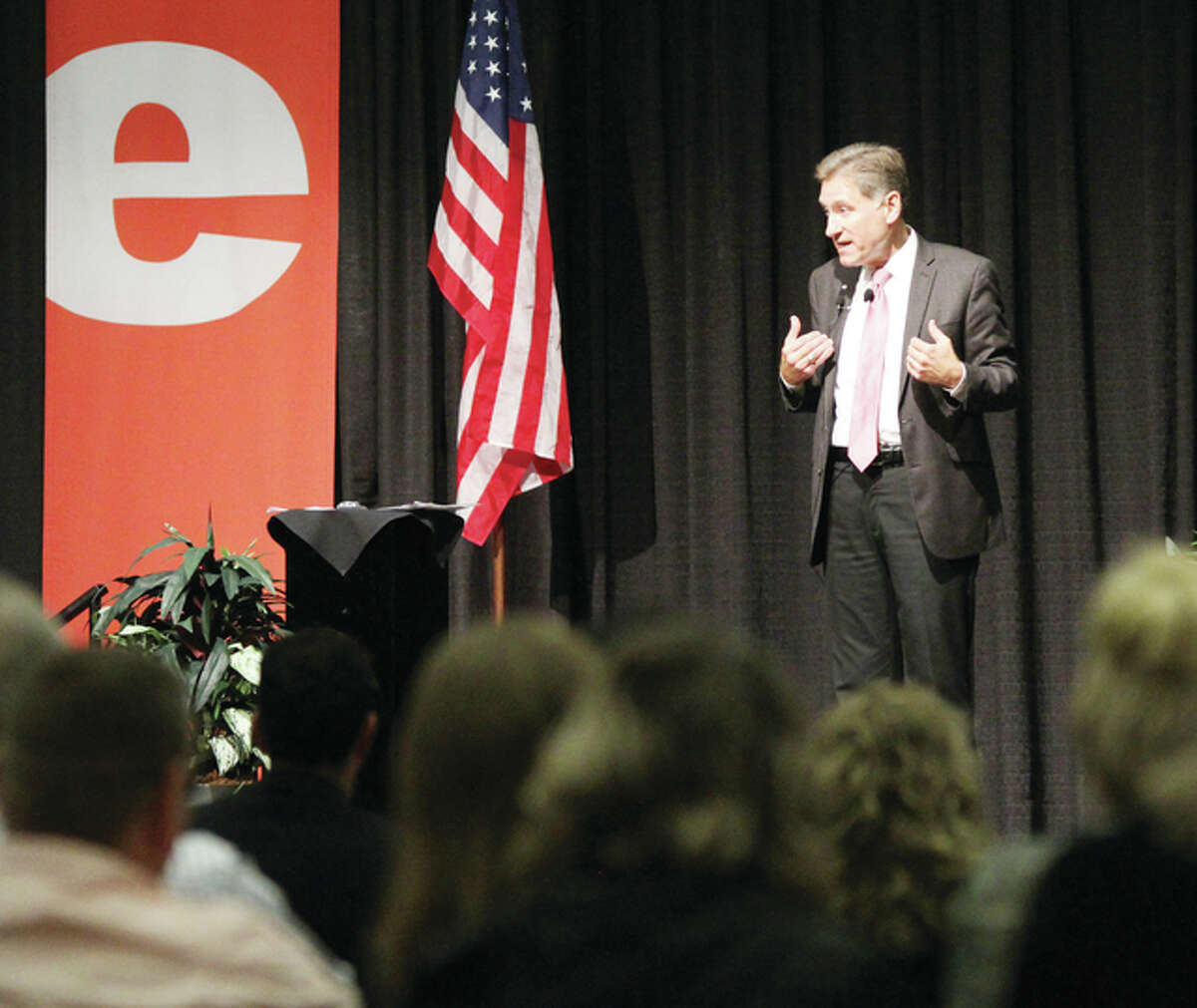 """SIU President Randy Dunn gives his """"State of the System"""" speech Tuesday at the Edwardsville campus. He focused on the need to think strategically about the future. About 250 faculty, staff and others came out to listen to Dunn's talk."""