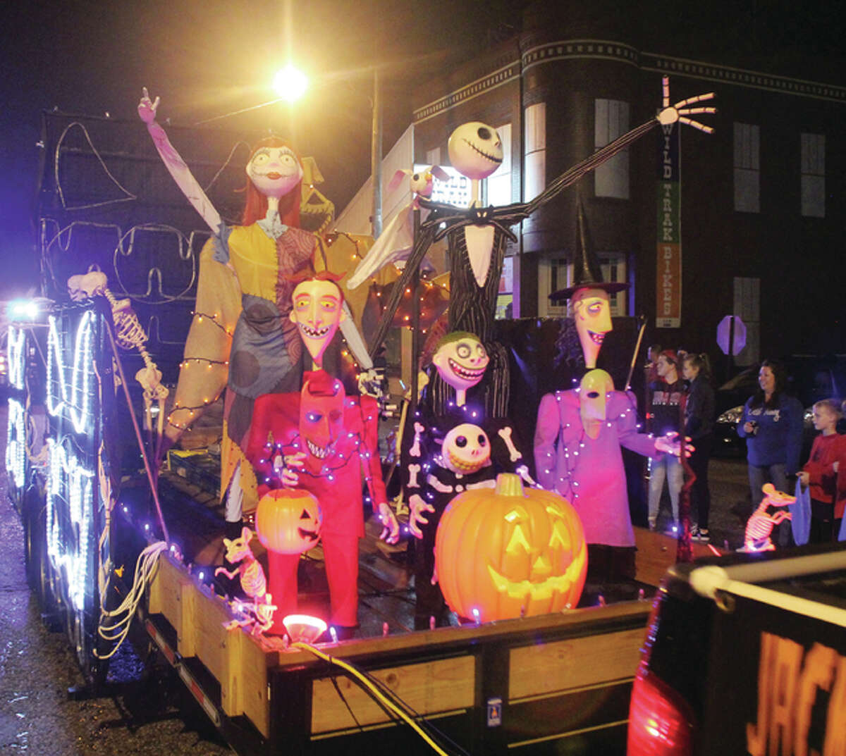 A float travels down the street in one of Alton's annual Halloween Parades.