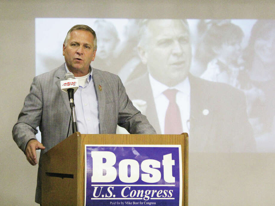 U.S. Rep. Mike Bost (R-12th) speaks during an endorsement rally with the Illinois Education Association Wednesday at The RiverBender.com Community Center in Alton. Bost is defending his seat against a challenge by Democrat C.J. Baricevic.