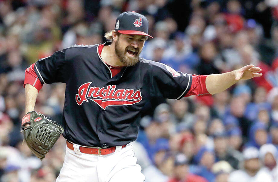 Cleveland Indians relief pitcher Andrew Miller celebrates after the end of the top of the seventh inning against the Chicago Cubs during Game 1 of the World Series Tuesday in Cleveland. Photo: Matt Slocum | AP Photo