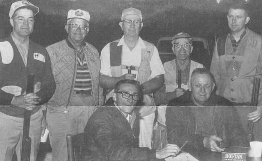 Jacksonville Sportsman's Club trapshooters at a Thursday night shoot in September 1968. In front are Jim O'Brien (left) and Carl Bourn. In back (from left) are Robert Foster, Virgil Gibbs, Adrian Read, L.D. Smith and George Murphy.