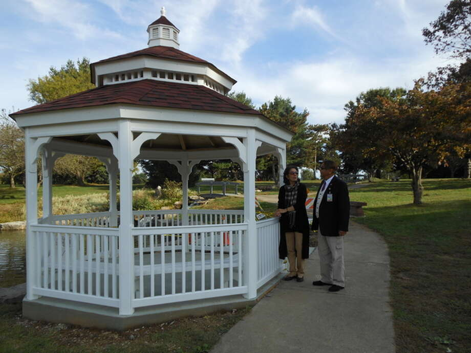 Talat and Dr. Sadiq Mohyuddin recently examined the new gazebo at the Oriental Garden in Gordon F. Moore Community Park that will be dedicated Saturday in a public ceremony. Linda N. Weller/The Telegraph