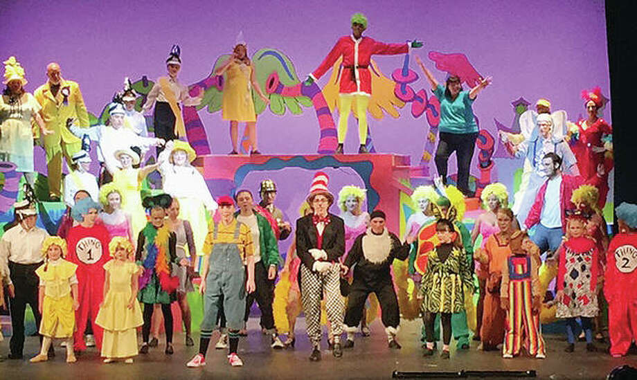 "Members of the cast of the Summer Repertory Theatre production of ""Seussical the Musical "" rehearse Tuesday at Bothwell Auditorium on the Blackburn College campus in Carlinville. The musical opens today. Photo: Photo Provided"