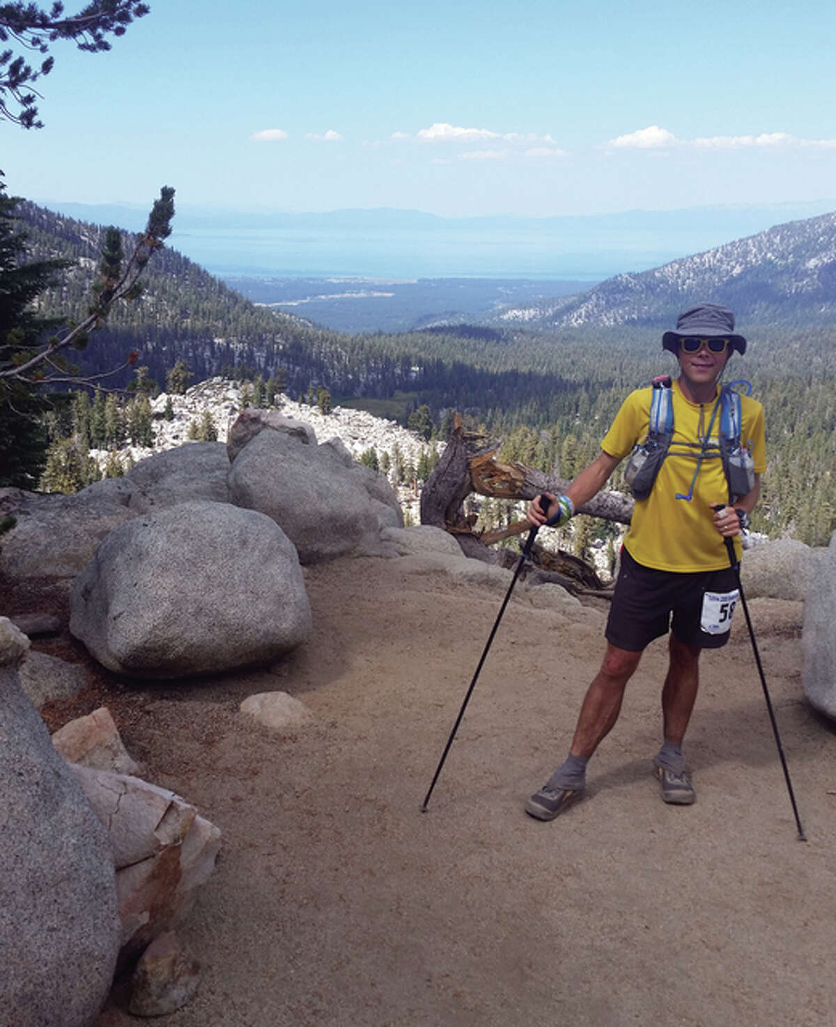 Justin Galbraith, an Alton High School graduate, poses for a photo during the Tahoe-200, a 205-mile running race around Lake Tahoe. He completed the race is 85 hours with very little sleep.