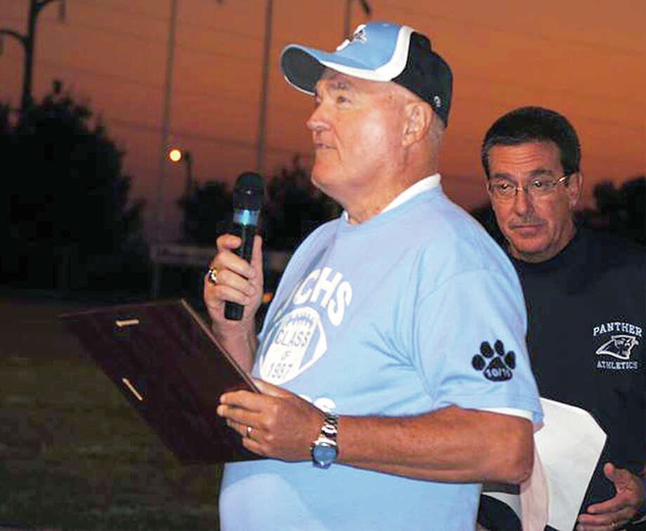 Former Jersey Panthers football coach Ed Test addresses the crowd during a ceremony at a Panthers football game in 2011. Test, who got 46 of his 123 career victories during a seven-year run at Jersey, died Wednesday at age 76. Photo: Courtesy Team Coach Test