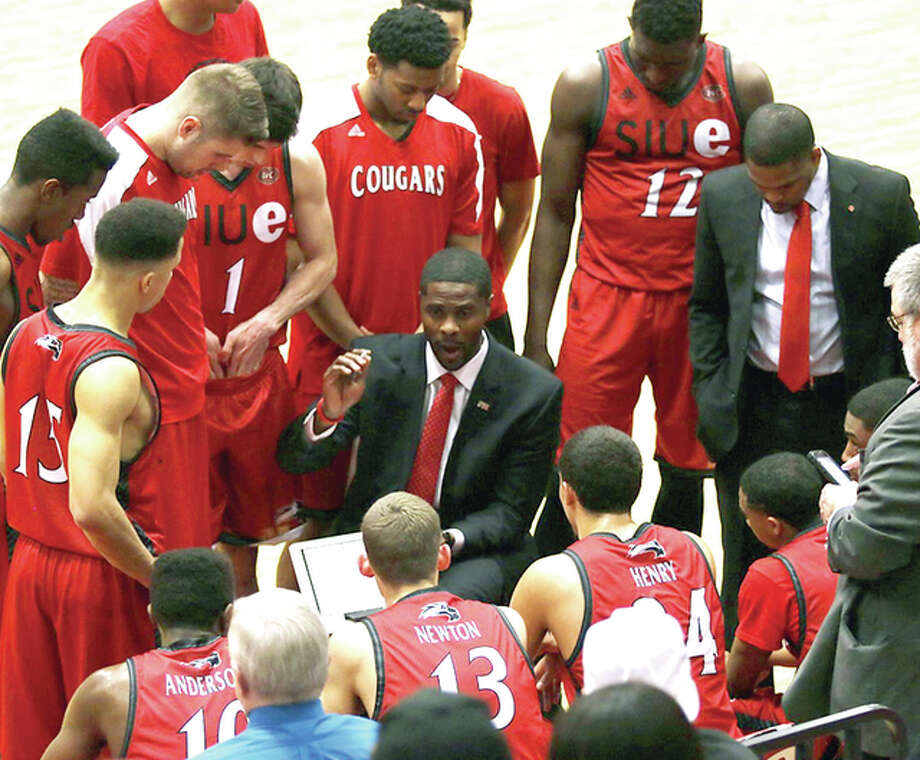 SIUE men's basketball coch Jon Harris talks to his team during a timeout last season. Wednesday, it was announced that SIUE men's basketball games will again be shown this season on FOX Sports Midwest.