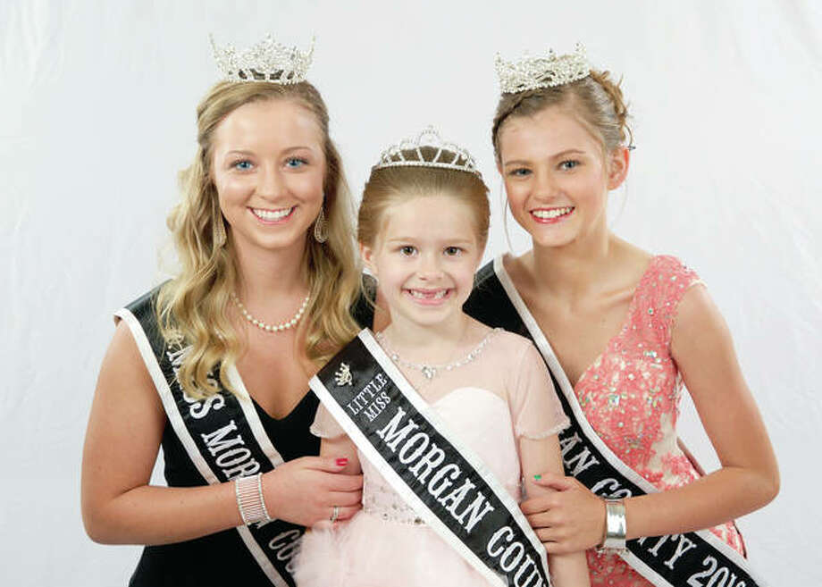 Last year's Morgan County Fair royalty — Queen Taylor Zoerner (from left), Princess Olivia Haverfield and Junior Miss Kaylee Ford — will crown their successors Tuesday evening. Photo: Photos By Warmowski Photography