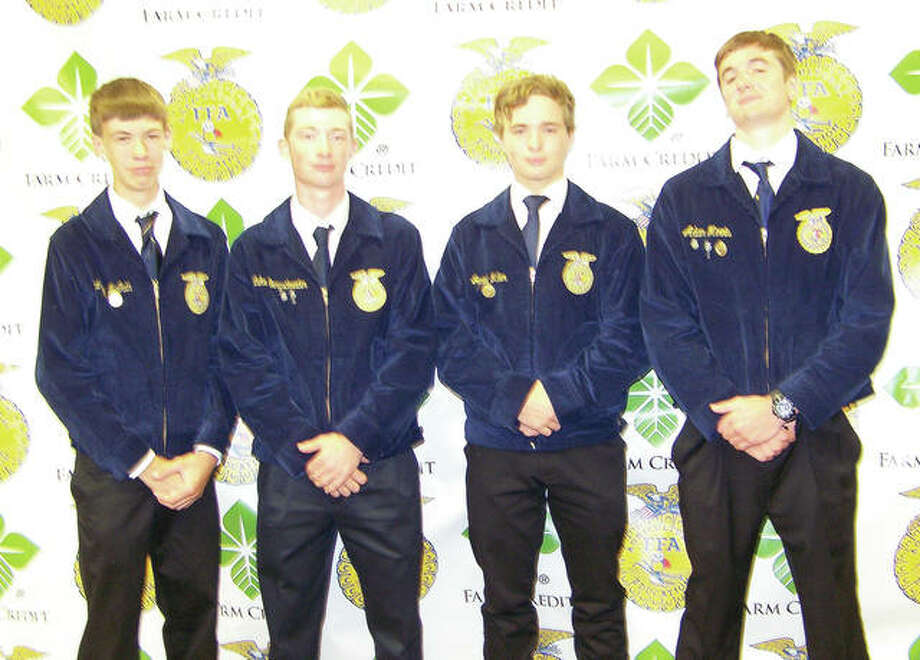 Members of the Franklin FFA recently attended the Illinois State FFA Convention in Springfield. They include: Andrew McGath (from left), Luke Bergschneider, Jared Miller and Adam Morris. Photo: Photo Provided