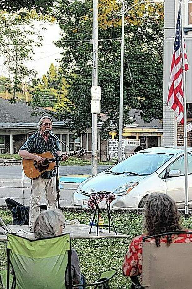 Folk music singer/songwriter Tom Irwin from Pleasant Plains performs Thursday evening in downtown Winchester. Photo: Jeffrey L. Davidsmeyer | Submitted Photo