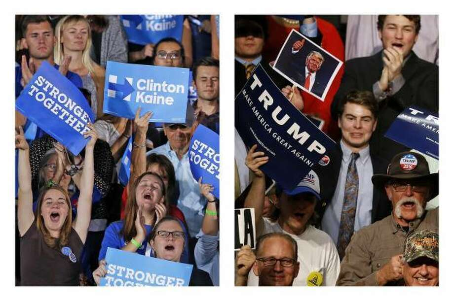 This combination of photos shows supporters of Democratic presidential candidate Hillary Clinton in Tempe, Ariz., on Wednesday, Nov. 2, 2016, and supporters of Republican presidential candidate Donald Trump in Baton Rouge, La., on Thursday, Feb. 11, 2016.
