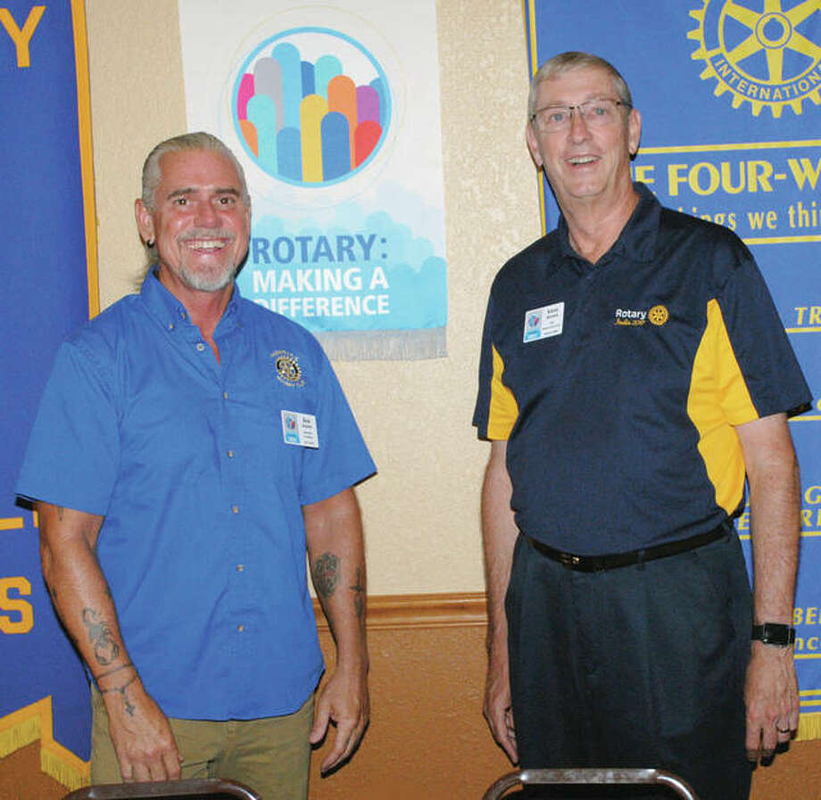 Past Rotary District Gov. Steve Hopper (right) spoke July 6 at the Rushville Rotary meeting, telling of his recent trip to Jaipur, Rajasthan, India, to help deliver lifesaving polio vaccinations to children. India is officially polio-free but works to avoid re-infection by vaccinating all residents several times a year. Rushville Rotary President Dan Adams welcomed Hopper to the meeting. Photo: Photo Provided