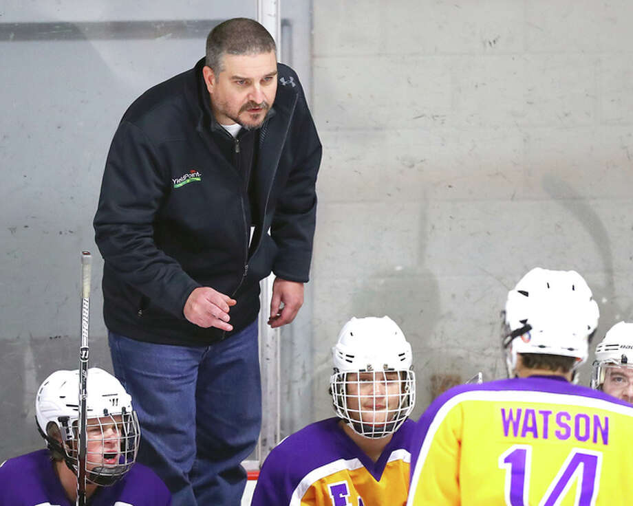 Bethalto coach Derek Kahl 's team skated to a 4-4 tie with Edwardsville Tuesday night at the East Alton Ice Arena. Kahl is pictured giving instructions to the Eagles during last week's season opener against EA-WR. Photo: Billy Hurst Photo | For The Telegraph