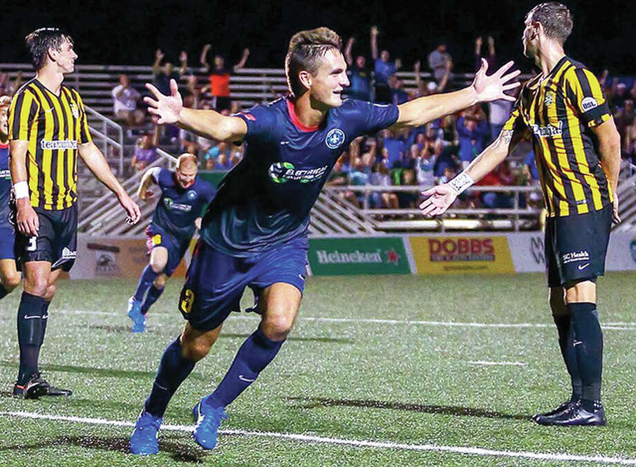 Edwardsville native Sam Fink of Saint Louis FC celebrates after he scored the tying goal late in a 2015 comeback win over Charleston at Soccer Park in Fenton. Photo: Telegraph File Photo