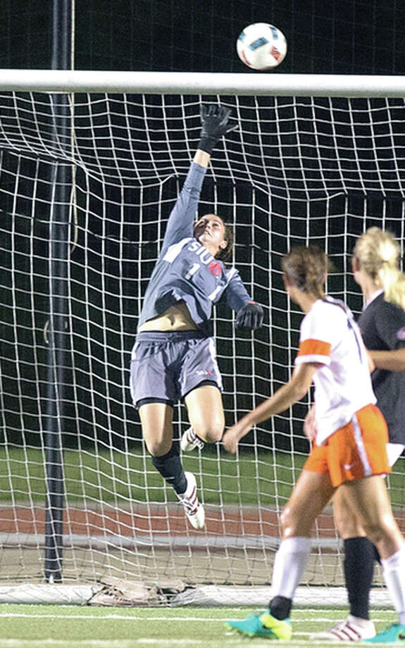 SIUE goalie Juli Rossi made nine saves, including one in sudden-death penalties, helping the Cougars oust No. 11-ranked Notre Dame in the first round of the NCAA Division I Women's Soccer Tournament Friday night at Notre Dame. She is shown making a save in action earlier this season. Photo: SIUE Athletics