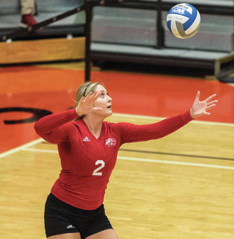 SIUE junior Taylor Joens had another big night for the Cougars with 15 kills and seven blocks in a three-set sweep of Austin Peay on Friday night in Clarksville, Tenn. Photo: SIUE Athletics