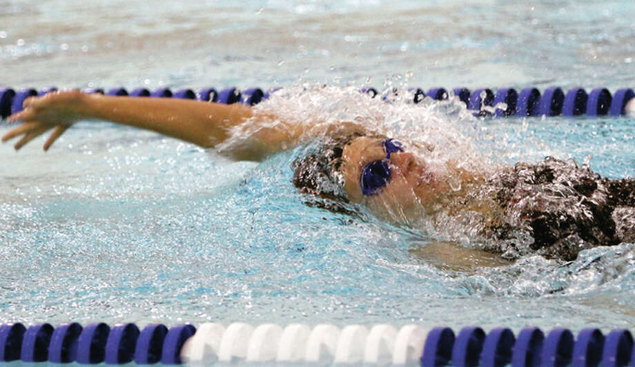 Edwardsville's Bailey Grinter won the 50-yard freestyle and 100-yard backstroke at Saturday's IHSA Girls Swim and Dive Sectional in Springfield and will advance to the state finals this weekend in Evanston. Photo: Telegraph File Photo