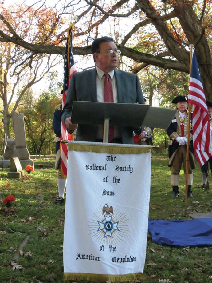Wood River Mayor Frank Akers addressed attendees in a dedication program, in which he commended the Genl George Rogers Clark Chapter Sons of the American Revolution for their work in honoring veterans. Photo: For The Telegraph