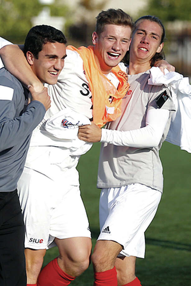 From left, SIUE's Greg Fischer, Lachlan McLane and Ian Cerro celebrate Sunday's 1-0 win over Missouri State in the MVC Tourney title game in Springfield, Mo.