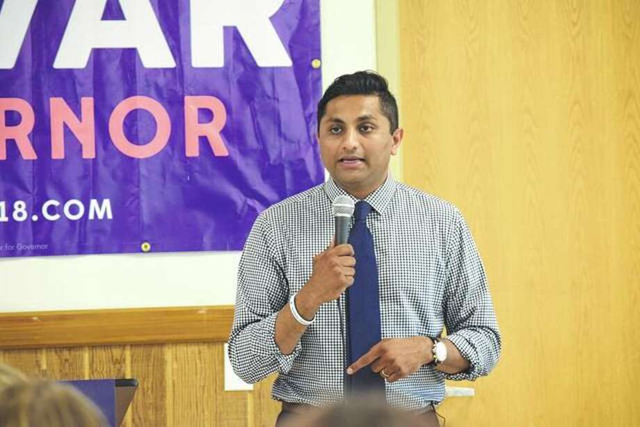 Ameya Pawar, a Democratic candidate for governor in 2018, talks about his vision of a New Deal for Illinois during a stop Sunday at Jacksonville's Community Park Center.