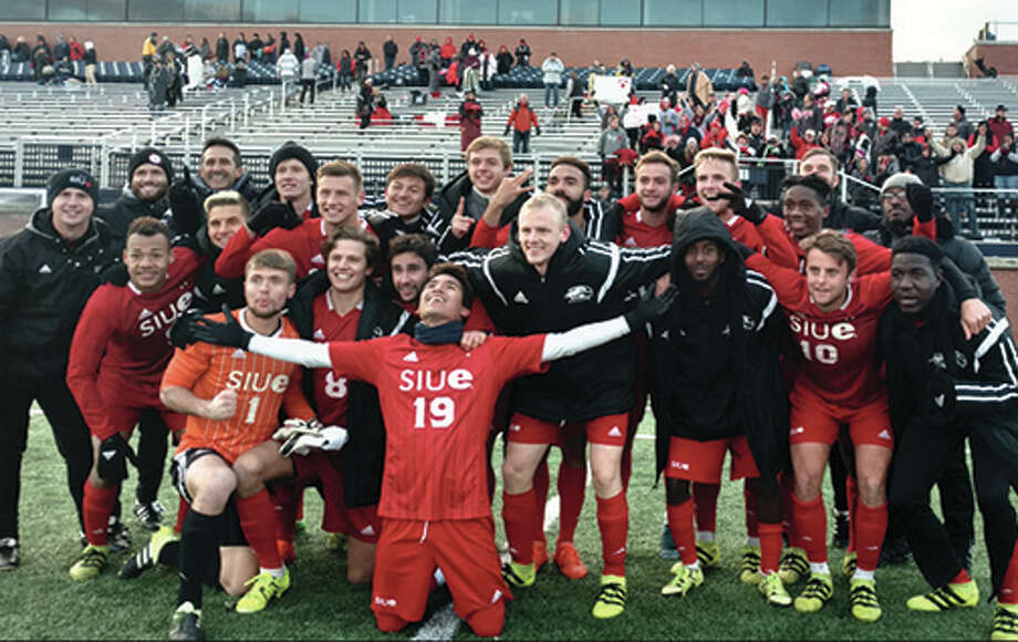 The SIUE men's soccer team poses for a photo after Sunday's second-round victory over Butler in Indianapolis sent the Cougars to the NCAA Tournament's Sweet 16. SIUE plays Sunday at Wake Forest.