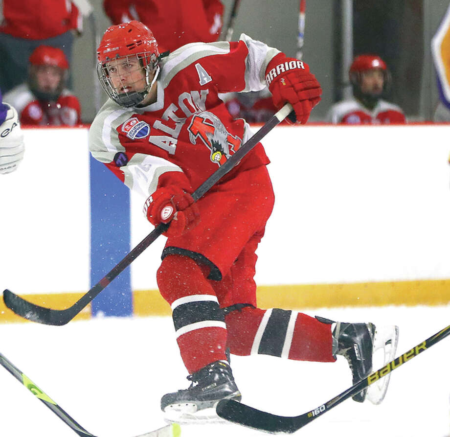 Alton's Tanner St. Peters scored a pair of goals and added an assist in the Redbirds' 4-3 victory over East Alton-Wood River in Wednesday's late-night MVCHA game at the East Alton Ice Arena. Photo: Billy Hurst | For The Telegraph