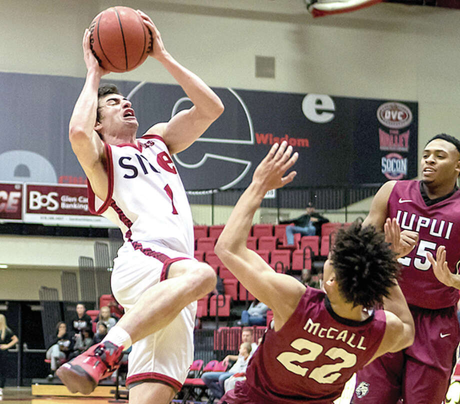 Burak Eslik of SIUE (1) drives against IUPUI Saturday at the Vadalabene Center. Eslik, a former LCCC Trailblazer, scored 13 points in SIUE's 61-58 win. Photo: SIUE Athletics