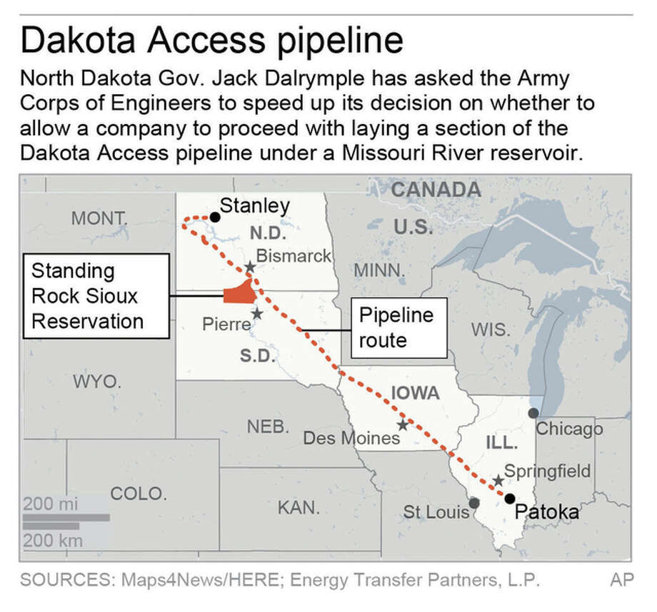 Graphic shows route of Dakota Access pipeline.