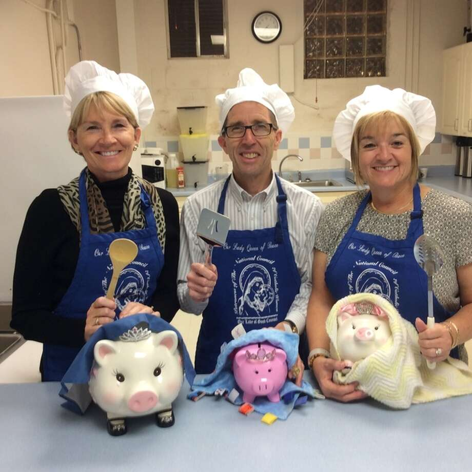 Getting ready for the Smorgasbord Dinner and Craft Bazaar on Sunday, Dec. 4 at Our Lady Queen of Peace are committee chairmen, from left, Becky Sulsberger, Dennis Gvillo and Stephanie Gvillo.