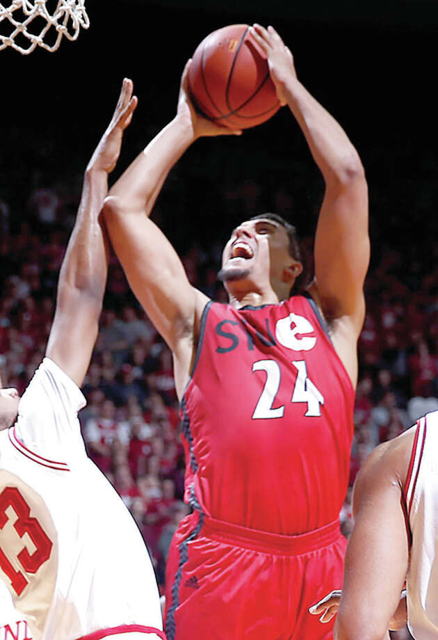 SIUE's Jalen Henry (24) shoots over Indiana forward Juwan Morgan Friday night in Bloomington, Ind. Photo: AP