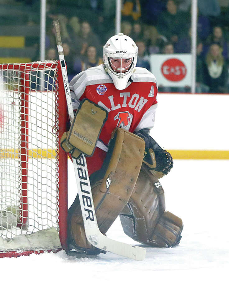 Alton's Caleb Currie made 43 saves in Thursday night's Mississippi Valley Club Hockey Association game against Freeburg/Waterloo at the East Alton Ice Arena. Photo: Billy Hurst File Photo | For The Telegraph