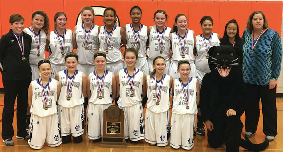 The Edwardsville Liberty Middle School seventh-grade girls basketball team poses with its trophy after winning the IESA Class 4A state championship on Thursday night at Parkside Middle School in Normal. It is the second straight seventh grade state title for the Panthers. Liberty finished 24-2 after defeating host Parkside 28-23 in the title game. Sydney Harris averaged 18.7 points per game in Liberty's three state tourney victories The team includes (back row, from left) assistant coach Jackie Harlin, Kennedy Fox, Madi Trimm, Claire Dunivan, Sydney Harris, Ariana Bennett, Elle Evans, Lexi Trimm, Alexis Bond, manager Zoe Kue, head coach Char Bond, (front row, from left) Violet McNece, Kaitlyn Conway, Kate Conner, Macy Silvey, Grace Daech, Ashlyn Hauk and the Panther mascot. Photo: Submitted Photo