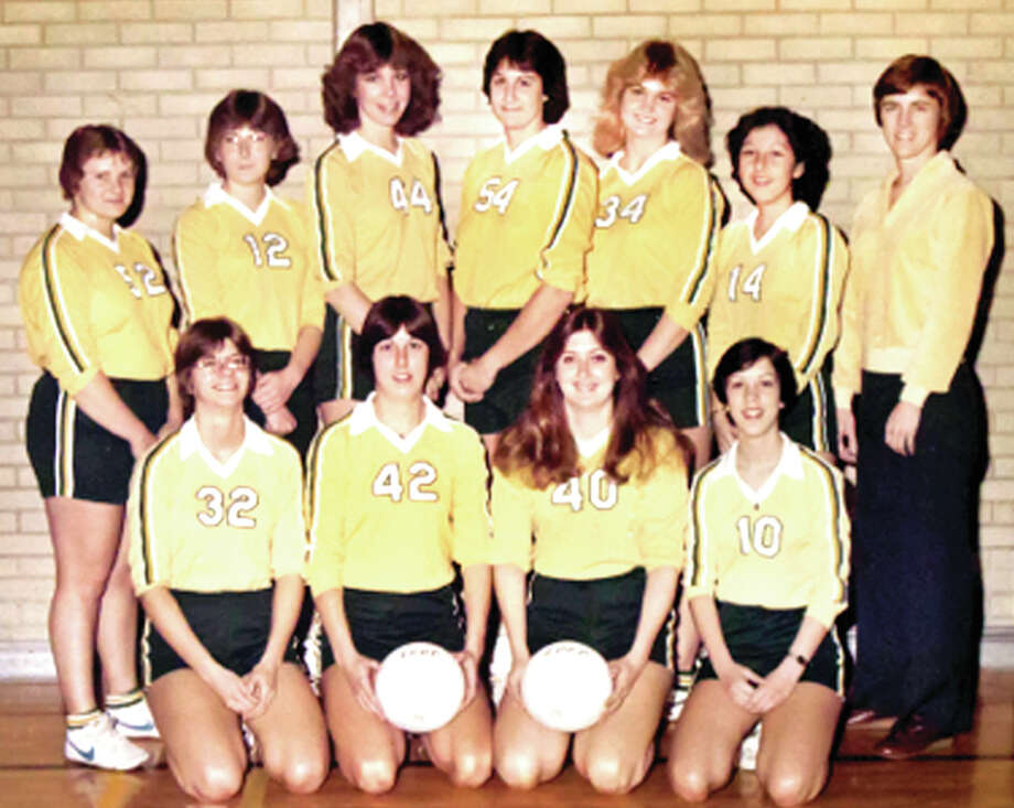Members of the 1979 Lewis and Clark Community College Bucks volleyball team are the newest inductees to the L&C Trailblazers Hall of Fame. Members of the '79 team are, Back row (from left) Paula Dublo, Cathy Ruyle, Tracy McIntyre, Edith Allensworth, Tina Strack, and Angela Mendez and coach Judy Gass. Front (from left): Debbie Cunningham, Shari Ripka, Sandy Booth and Michelle Linn. Photo: Photo Courtesy Tracy McIntyre Cook