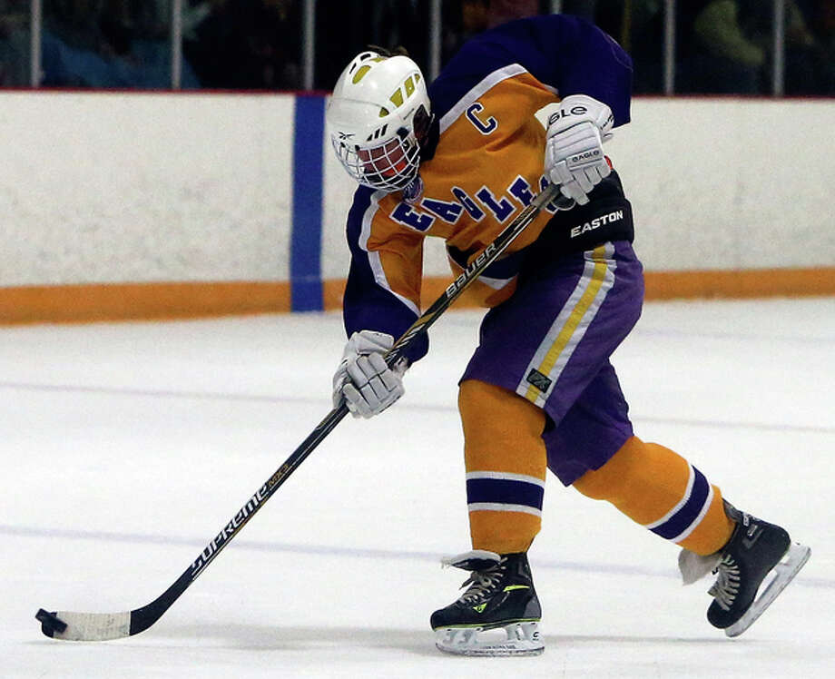 Bethalto's Jacoby Robinson was one of three players to score twice in Tuesday's 8-1 victory over Highland at the East Alton Ice Arena. Also scoring two goals were Isaac Vancil and Anthony Russo. Photo: Telegraph File Photo