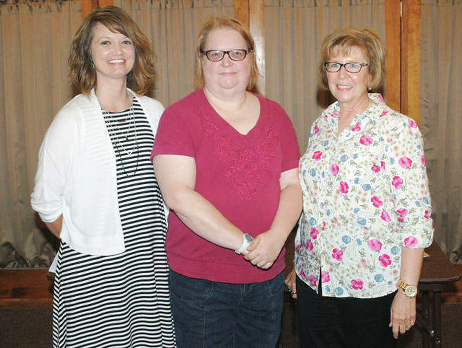 Rushville Rotarian Sarah Rust (center) welcomes Schuyler-Industry school nurse Sally Trone (left) and Schuyler County Health Department board member Holly Cain to the Aug. 31 Rushville Rotary meeting. Trone and Cain work with Kick Start, a program that offers free health-related services to ensure students in Schuyler County are ready for school each fall. Photo: Photo Provided