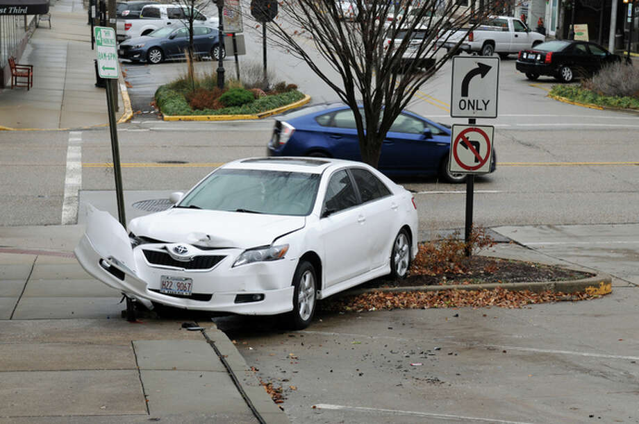 Icy conditions and hilly terrain caused a number of crashes Friday and Saturday, including thise one at the corner of Third and Piasa streets in Alton on Saturday.