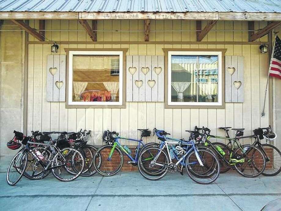 A row of bicycles lines the front of Norma's Cafe this weekend in Jacksonville. Riders made a stop at the restaurant for breakfast.