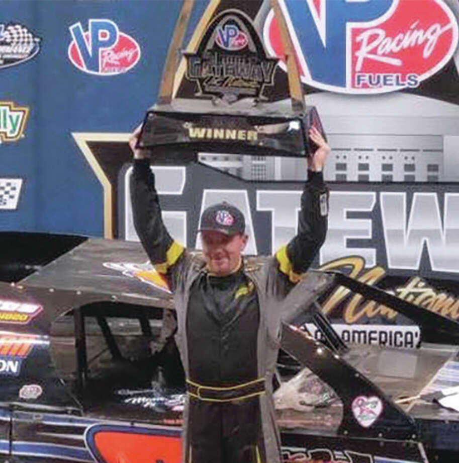 Alton's Tommie Seets Jr. won the 30-lap Dirt Modified – A Main feature to claim the $10,000 prize money for the winner on Saturday night at the Gateway Dirt Nationals at the Edward Jones Dom in St. Louis. Seets got his big victory on the final day of the three-day event billed as the biggest indoor stock car event in 34 years. The races for Dirt Late Models and Open-Wheel Modifieds were run on a temporary one-fifth mile, semi-banked dirt oval built in the 67,000-seat stadium that was formerly the home of the St. Louis Rams. Photo: Submitted Photo