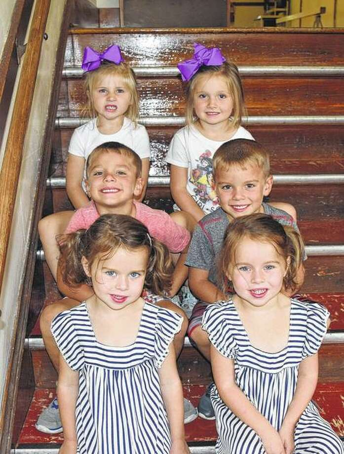 Twins Paislee and Parker Geer (bottom row, L-R), Andrew and Kollin Ford (middle row, L-R), and Crimson and Creedence Lancaster (top row, L-R) all attend Franklin East Grade School.
