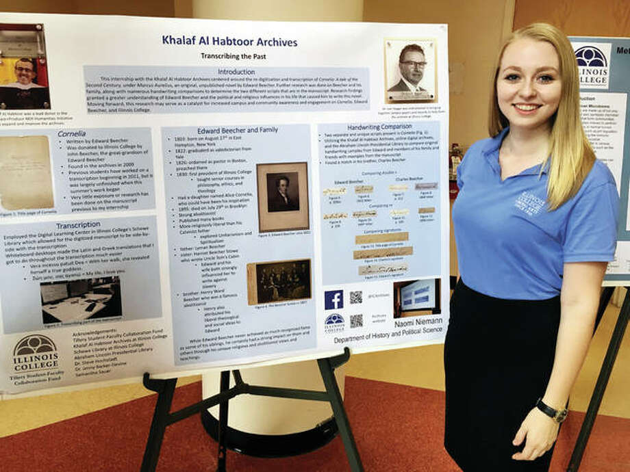 Illinois College student Naomi Niemann spent her summer transcribing an unpublished manuscript by IC's first president, Edward Beecher. It was part of her student-faculty historical research with history associate professor Jenny Barker-Divine. Photo: Photo Provided